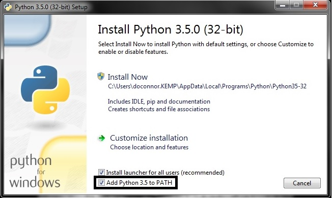 install python package locally windows